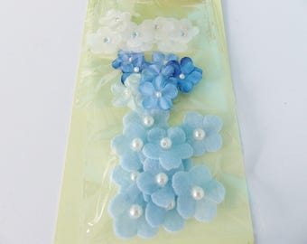30 mini flower blue and white with pearls and shiny