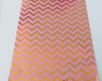 repositionable adhesive fabric coupon 15 x 21 cm stripes pink gold
