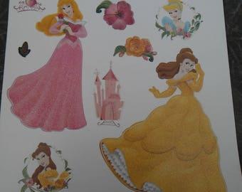 Stickers wall glitter princesses Belle Aurora Cinderella
