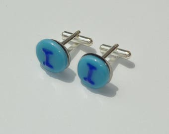 """""""First"""" fused glass, unique cuff links"""