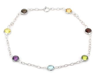 14k White Gold Gemstone Anklet Bracelet With Corrugated Link Chain 9- 11 Inches