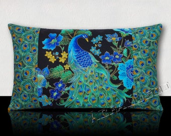 NEW year gift pillow-Chinese Peacock/Peacock feather and matching blue/green/yellow/gold flowers on a black background.