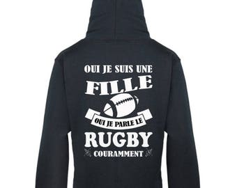 Black sweatshirt Hoodie for women I talk Rugby