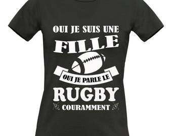 T-shirt black short sleeve 100% cotton B & C Exact 190 Rugby women