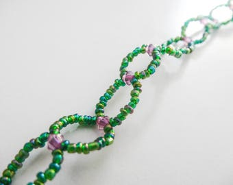 Pearl effect bracelet - green and purple - mesh Nature / country