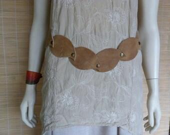 "Belt leaf ""fairy"" Brown distressed leather"