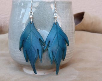 Large turquoise leaf leather earrings