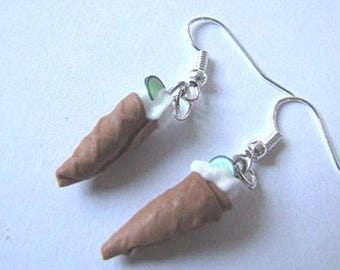 Fimo whipped cream and ice cream cone earrings