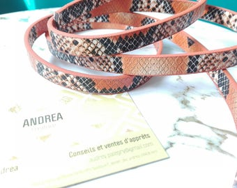 ☆ snakeskin Strip / beige / black/rust / faux leather / 30 cm/10 x 2 mm☆