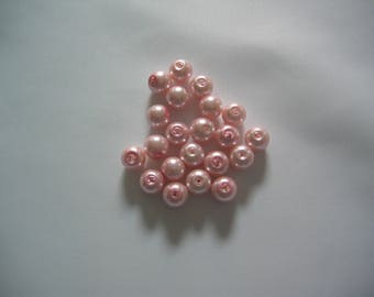 Set of 10 pastel pink pearl beads 8mm diameter