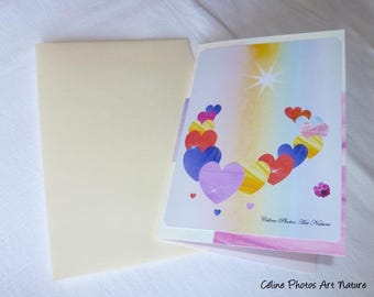 """Greeting card for Valentine's day handmade """"Petal hearts Medley"""" 10.5x15cm"""