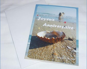 "Double birthday card ""Escape"" Navy 10x15cm with sea pictures"