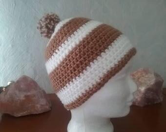 Hat Beanie crochet striped Bobble Hat