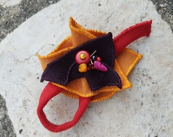 brooch yellow orange, red and purple felted wool