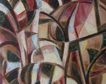Metamorphosis - original mixed media painting abstract, Cubist spirit
