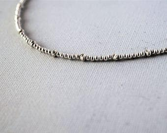 Silver Beaded Necklace,Silver Classic Necklace,Minimalist Silver Necklace,Dainty Necklace,Delicate Silver Necklace,Silver Dainty Necklace