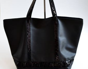 Clutch faux leatherette black matte glitter tote bag handmade @lacouturebytitia women's fashion