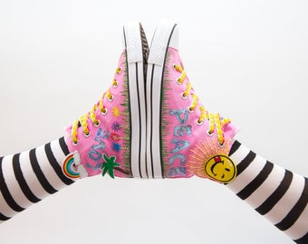 Custom Shoes Love and Peace Boho Style Festival Fashion Hand Stitched Art on High Top Converse Sneaker