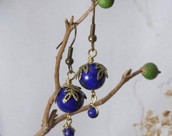 Bronze leaves and lapis lazuli earrings