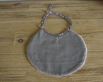 grey polka dot baby bib