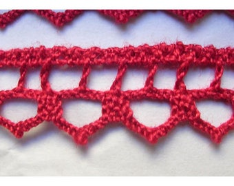 Lace 10 mm red cotton