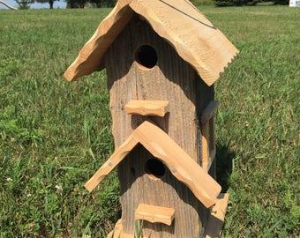 Barnwood Birdhouse/two apartment birdhouse/ handmade birdhouse