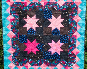 Pink Stars - Machine Quilted Quilt