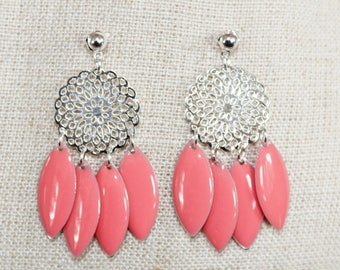 Dangle earrings, coral and Silver Rosette (drilled)