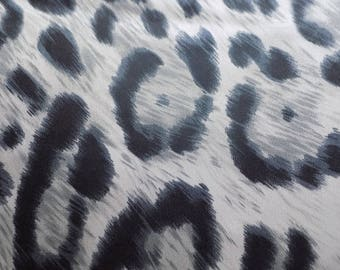 Black gray leopard polyester fabric