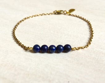 Bracelet brass and Lapis Lazuli beads
