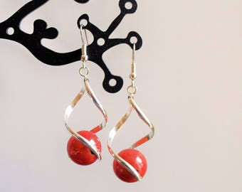 Orange beads earrings magic