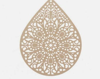 Pretty print pendant shape: Teardrop filigree - Beige 3.9 x 4.9 cm