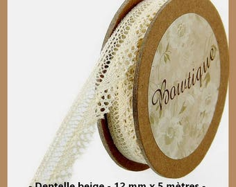 Spool of beige lace with 12 mm x 5 m - new