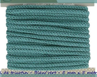 Knitting yarn - seafoam green blue - 5 mm x 5 meters.