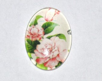 """Flowers"" in size 13-18mm glass cabochon"