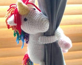 Unicorn curtain tie back