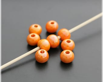 Set of 10 beads 1 cm ceramic