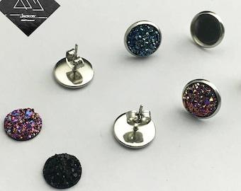 DIY Jewelry Kit - 10mm Stainless Steel Earring Stud Blank - Hypoallergenic - Earring Finding - Bezel Earring Studs-10mm Faux Druzy Cabochons