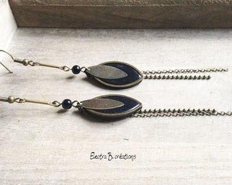 Long earrings drops black and bronze