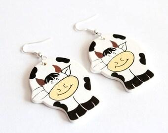 Black/White cow wooden earrings