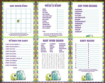 All 6 Games! Monsters Inc Baby Shower Games, Monsters Inc Baby Shower, Monsters Baby Shower Game, Monsters Baby Shower, Digital File
