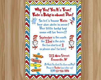 Dr Seuss Baby Shower Invitation, Dr Seuss Baby Shower, Dr Seuss Shower Invitation, Dr Seuss Baby Invitation, Digital File