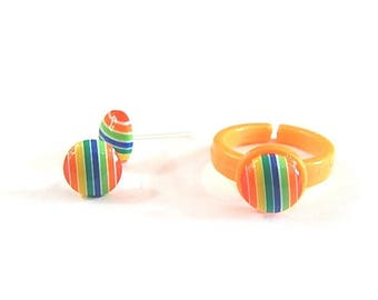 Dress child girl: stud earrings and ring ° candy striped (multicolored)