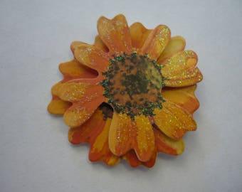 Scrapbooking paper flower sticker, yellow/orange