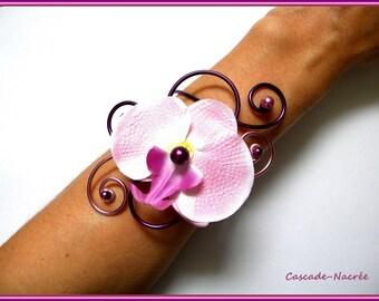 Eggplant plum pink bridal Orchid aluminum Pearl wedding jewelry bracelet