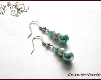 light blue silver bridal wedding Pearl Earrings Pearl