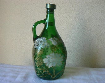 """bombinette to handle - 3 l - green glass - collection """"flowers"""""""