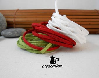 3 meters of Suede, 3 colors: green, red and white, 3mm