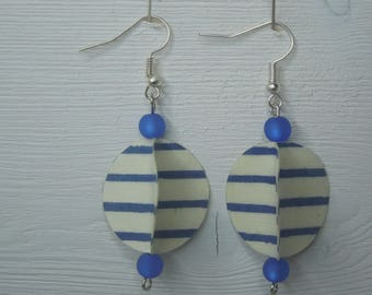 Blue white striped earrings