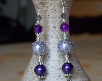 Purple long cross earrings